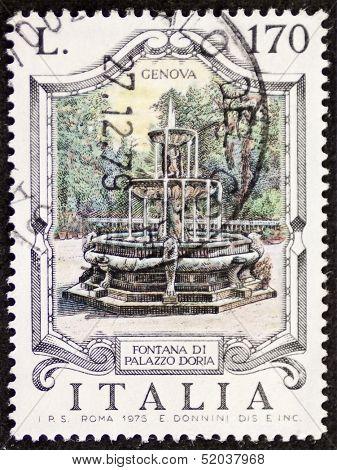 ITALY - CIRCA 1976: a stamp printed in Italy shows Fontana di Palazzo Doria , built in the 16th century in the Villa del Principe, Genoa. Italy, circa 1976