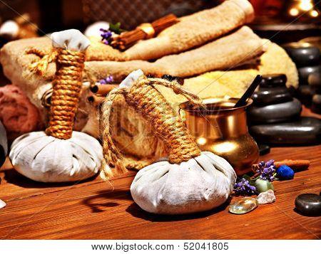 Lastone ayurvedic spa massage still life.