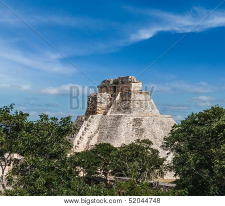 Anicent mayan pyramid (Pyramid of the Magician, Adivino) in Uxmal, M���©rida, Yucat���¡n, Mexico