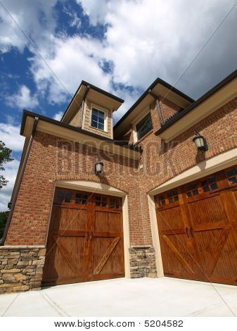 Luxury Model Home Exterior Angled Double Garage