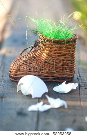 small toy clog rich artificial grass and eggshell poster
