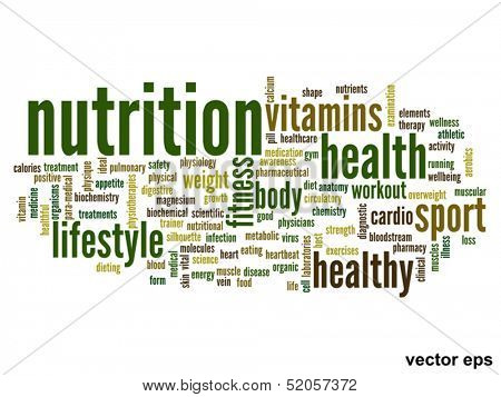 Vector eps concept or conceptual abstract nutrition word cloud or word-cloud on white background