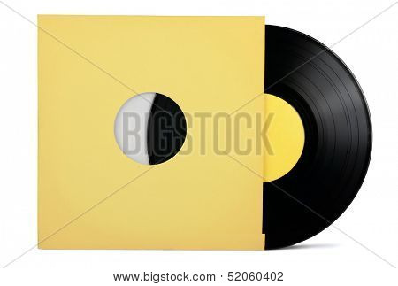 Vinyl record in paper sleeve isolated on white