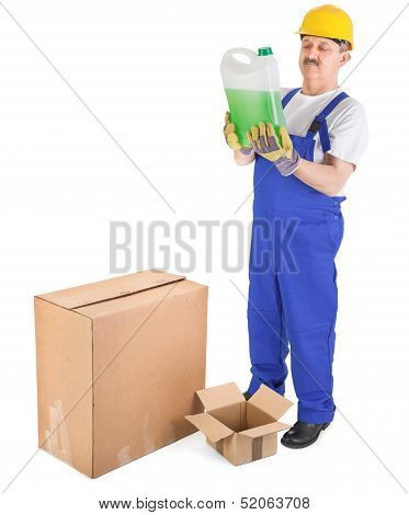 Worker Recives Delivery With Green Liquid