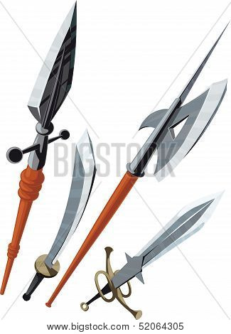set of weapons blade angled forward
