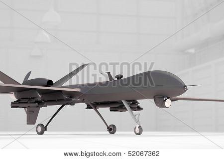 Comabt Drone In White Hangar Closeup
