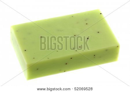 Good quality of  Lemongrass Glycerin Bar Soap with scrub beads,  on white background