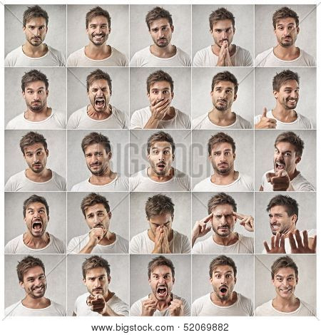 mosaic of young man expressing different emotions poster
