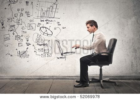 young businessman working in a virtual office