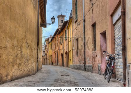 alley in the old town of Imola, Italy