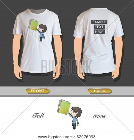 Kid Holding Green Folder With White Papers. Vector Design.