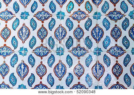 Handmade Traditional Turkish Blue Tile Wall in Istanbul poster
