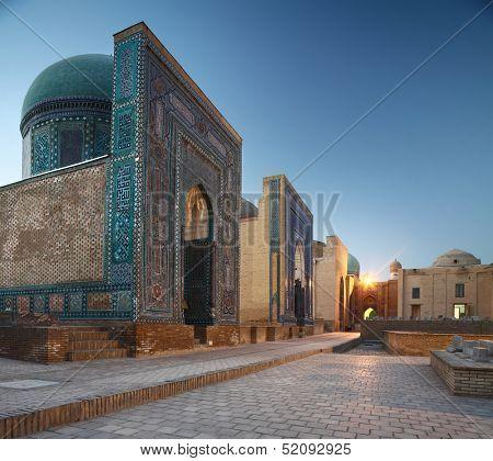 Oriental complex Shah i Zinda at twilight. Samarkand, Uzbekistan poster