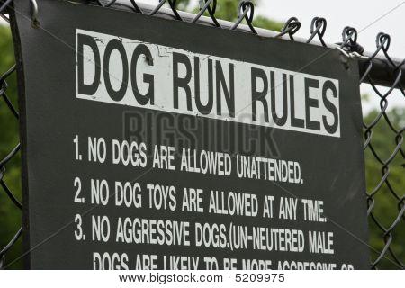 Dog Run Rules Sign.