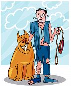 Vector illustration of bad dog and his battered owner poster