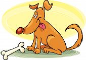 Vector illustration of funny dog sitting with bone poster