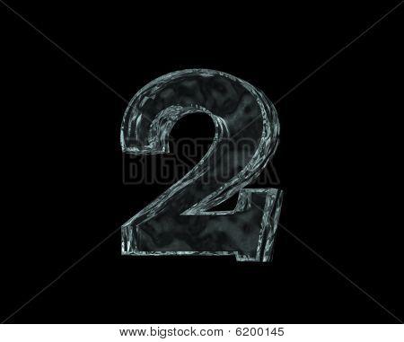 frozen number two on black background - 3d illustration poster