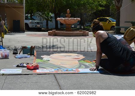 Sidewalk Chalk Art With Fountain