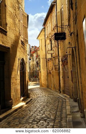 Narrow medieval street in town of Perigueux, Perigord, France