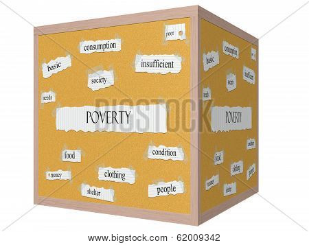 Poverty 3D Cube Corkboard Word Concept