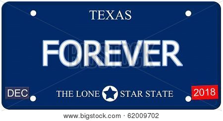 Forever Texas Imitation License Plate