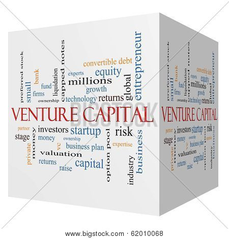 Venture Capital 3D cube Word Cloud Concept with great terms such as investors startup risk and more. poster