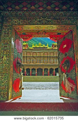 Entrance To A Tibetan Gompa Oil Paint Stylization