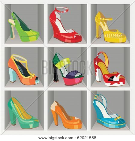 Colorful Fashion Women's High Heel Shoes In The Wardrobe