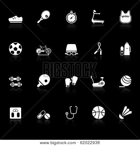 Fitness Sport Icons With Reflect On Black Background