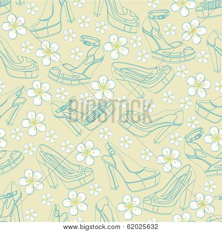Fashion Women's Shoes And Flowers In Seamless Pattern