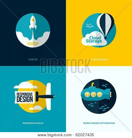 Flat Vector Design Of The Startup Process, Cloud Storage, Responsive Web Design And Seo