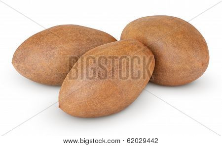 Fresh Sapodilla Plum On White