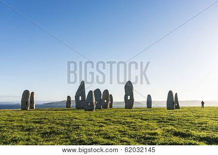 Menhirs Park In A Coruna, Galicia, Spain