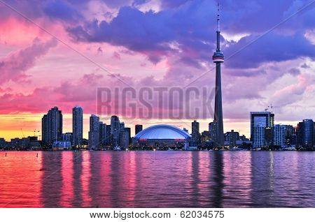Scenic view at Toronto city waterfront skyline at sunset