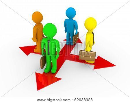 Different Businessmen On Different Paths