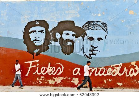 Graffiti and wall paintings representing the Cuban national heroes, in Havana.