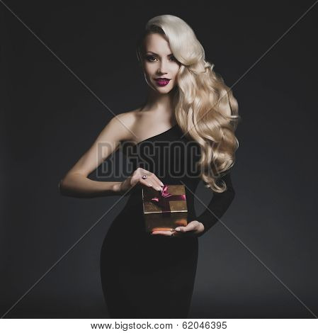 Luxury Blonde With A Christmas Gift