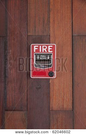 Push Button Switch Fire On Wood Pattern Wall