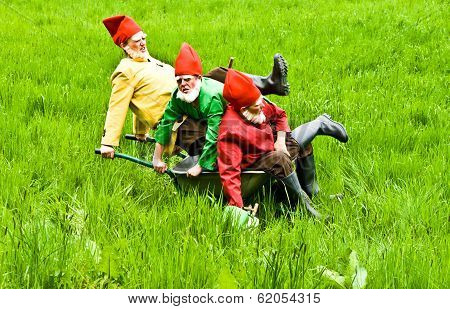 Three Garden Gnomes Enjoy Children At The Festival For Inauguration The New Quellenpark