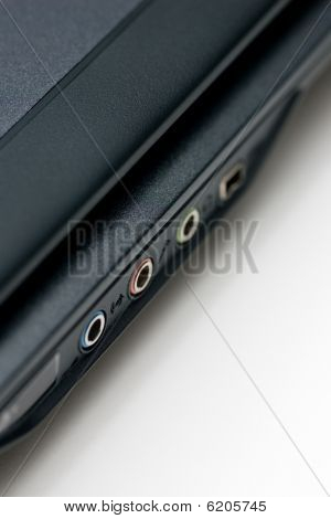 Notebook ports close up