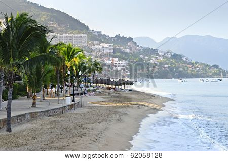Beach and Malecon on Pacific Ocean in Puerto Vallarta, Mexico
