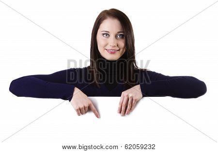 Woman Showing Billboard Sign