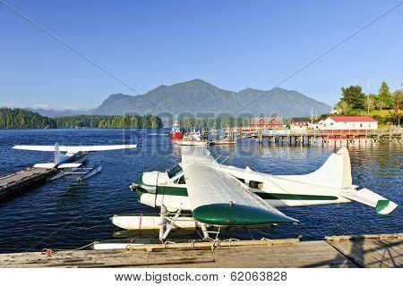 Seaplanes at dock in Tofino on Pacific coast of British Columbia, Canada