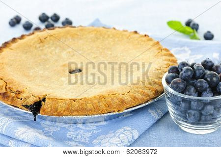 Whole baked blueberry pie with fresh  blueberries poster