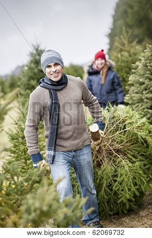Man dragging fresh spruce at cut your own Christmas tree farm with his daughter in background