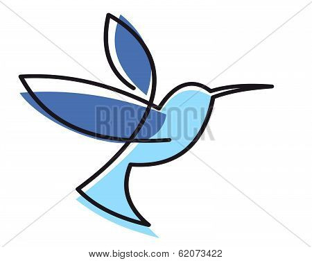 Stylized blue hovering hummingbird with a black outline isolated on white poster