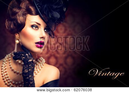 Retro Woman Portrait. Vintage Style Girl Wearing Old fashioned Hat and Gloves, retro Hairstyle and Make-up. Romantic lady poster