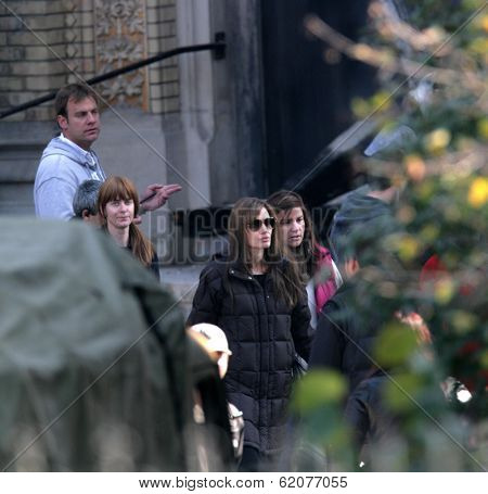 BUDAPEST - OCTOBER 13: Angelina Jolie, in the role of director, on the set of her Bosnian war drama currently in production in Budapest, Hungary, on Wednesday, October 13, 2010. Photographer: Northfoto