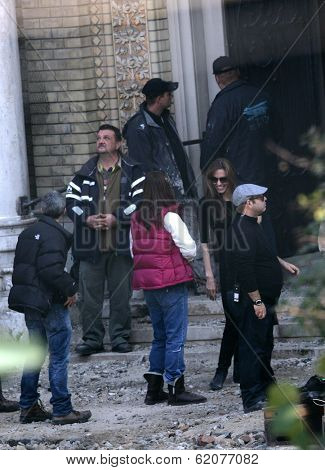 BUDAPEST - OCTOBER 13: Angelina Jolie, in the role of director, on the set the Bosnian war drama currently  in production in Budapest, Hungary, on Wednesday, October 13, 2010. Photographer: Northfoto