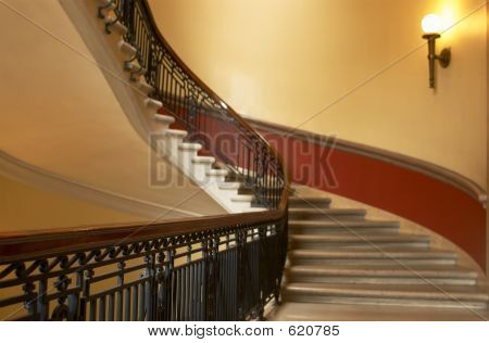 Curved Stairs & Lamp